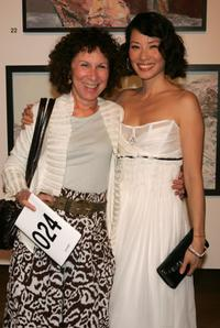 Rhea Perlman and Lucy Liu at the Lucy Liu's art exhibit and auction.
