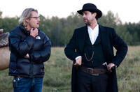 Director Andrew Dominik and Brad Pitt on the set of