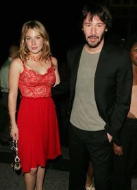 Keanu Reeves and Lynn Collins at the after party for the opening night of Shakespeare in the park