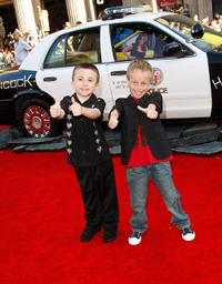 Atticus Shaffer and Jae Head at the premiere of