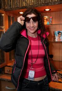Ally Sheedy at the Ray Ban Display at the Gibson Guitar Lounge on Main Street.