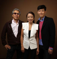 Im Sang-soo, Jeon Do-Youn and Lee Jung-Jae at the 2010 Toronto International Film Festival in Canada.