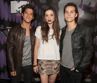 Tyler Posey, Crystal Reed and Dylan O'Brien at the 2011 MTV Video Music Awards in California.