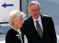 Robert Wagner and Rep. Jane Harman at the funeral of Jack Valenti.