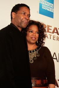 Oprah Winfrey and Denzel Washington at the Los Angeles premiere of