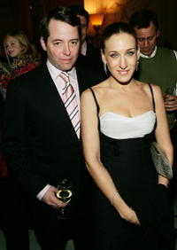 """Matthew Broderick and Sarah Jessica Parker at """"The Producers"""" premiere after party in New York City."""