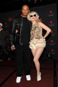 Dr. Dre and Lady Gaga at the Heartbeats by Lady Gaga headphones unveiling.