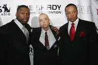 50 Cent, Eminem and Dr. Dre at the Shady National Convention to launch Shade 45.