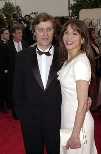 Lasse Hallstrom and Lena Olin at the 58th Annual Golden Globe Awards.