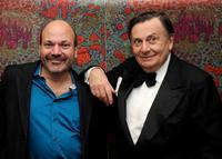 Director Casey Nicholaw and Barry Humphries at the opening night party for