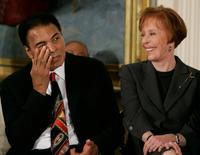 Carol Burnett and Muhammad Ali for a ceremony at the White House.