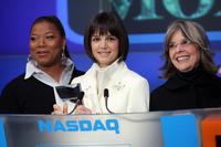 Diane Keaton, Queen Latifah and Katie Holmes at the NASDAQ stock market opening bell.