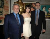 Sid Ganis, Zooey Deschanel and John Landis at the 34th Annual Student Academy Awards Ceremony.