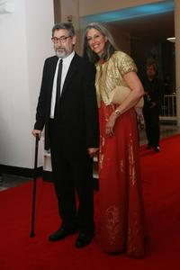 John Landis and Deborah Nadoolman at the 65th Venice Film Festival Closing Ceremony.