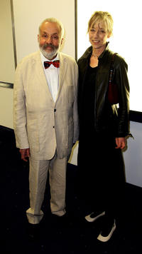 Mike Leigh and Charlotte Holdich at the UK premiere of