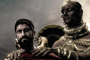 "King Xerxes (Rodrigo Santoro) tries to convince King Leonidas (Gerard Butler) to surrender in ""300."""
