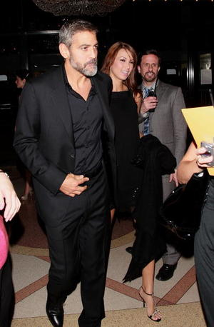 """Actor George Clooney and Sarah Larson at the N.Y. premiere of """"The Assassination of Jesse James by the Coward Robert Ford."""""""