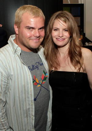 "Actors Jack Black and Jennifer Jason Leigh at the premiere of ""Margot at the Wedding."""