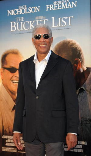 "Actor Morgan Freeman at the Hollywood premiere of ""The Bucket List."""