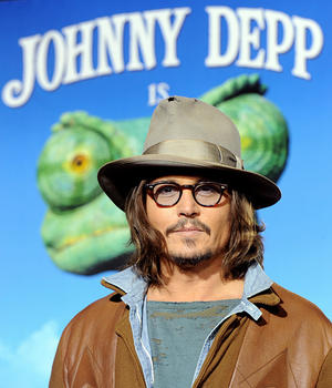 "Johnny Depp at the California premiere of ""Rango."""