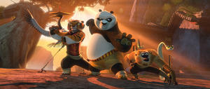 "Crane voiced by David Cross, Tigress voiced by Angelina Jolie, Po voiced by Jack Black, Mantis voiced by Seth Rogen, Monkey voiced by Jackie Chan and Viper voiced by Lucy Liu in ""Kung Fu Panda 2."""