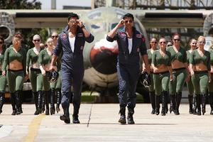 "John Abraham and Akshay Kumar in ""Desi Boyz."""