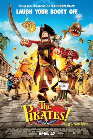 "Poster art for ""Pirates! Band of Misfits 3D."""
