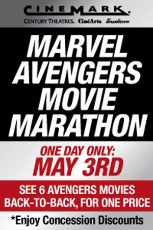"""Poster art for """"Cinemark Marvel Avengers Movie Marathon."""""""