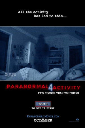 "Poster art for ""Paranormal Activity 4: The IMAX Experience."""