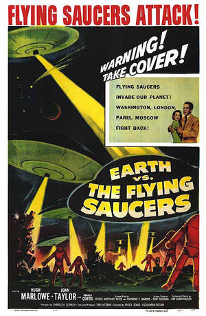 "Poster art for ""Earth vs. The Flying Saucers."""