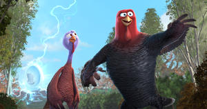 "Reggie voiced by Owen Wilson and Jake voiced by Woody Harrelson in ""Free Birds."""