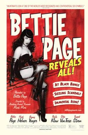 "Poster art for ""Bettie Page Reveals All."""