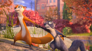 "Andie voiced by Katherine Heigl and Surly voiced by Will Arnett in ""The Nut Job."""