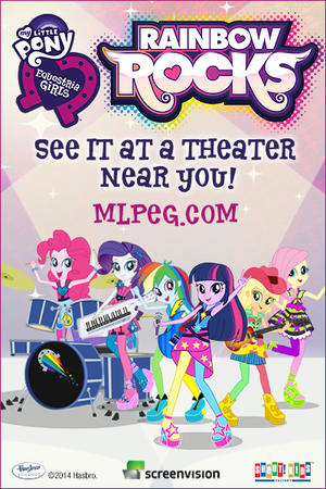 "Poster art for ""My Little Pony Equestria Girls: Rainbow Rocks."""