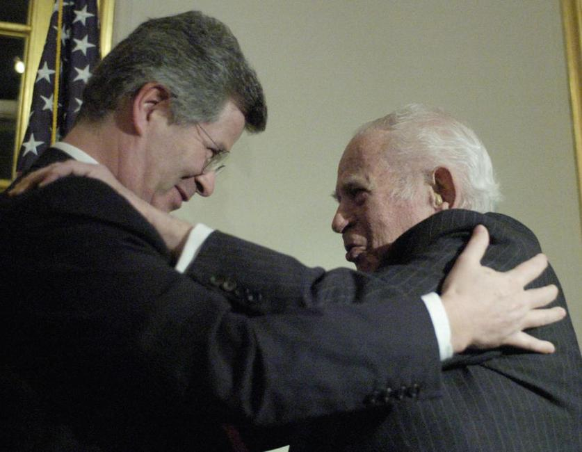 Norman Mailer and Jean-David Levitte, after Mailer received the medal of Chevalier of the Legion of Honor.