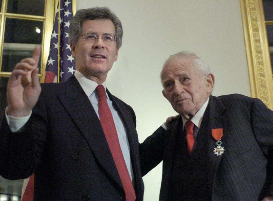 Norman Mailer and Jean-David Levitte, after receiving the medal of Chevalier of the Legion of Honor.