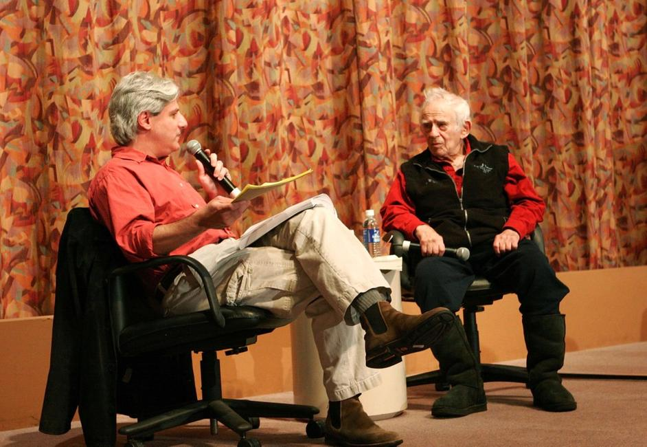 Norman Mailer and David Ulin at the Writers Guild Theater with his new book