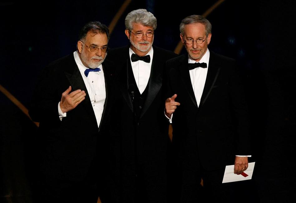 Steven Spielberg, Francis Ford Coppola and George Lucas at the 79th annual Academy Awards.