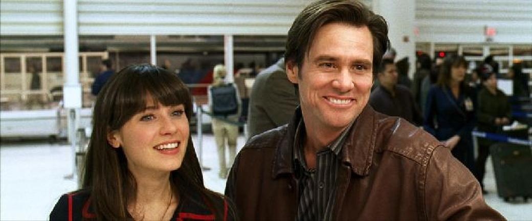 Zooey Deschanel as Allison and Jim Carrey as Carl in