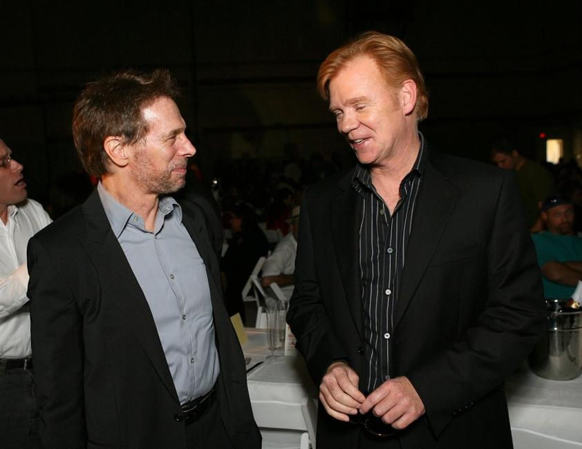 David Caruso and Jerry Bruckheimer at the CSI Miami 100th Episode Cake Cutting Party.