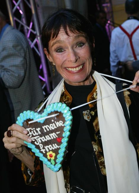 Geraldine Chaplin at the Hoffest party wears a heart that reads