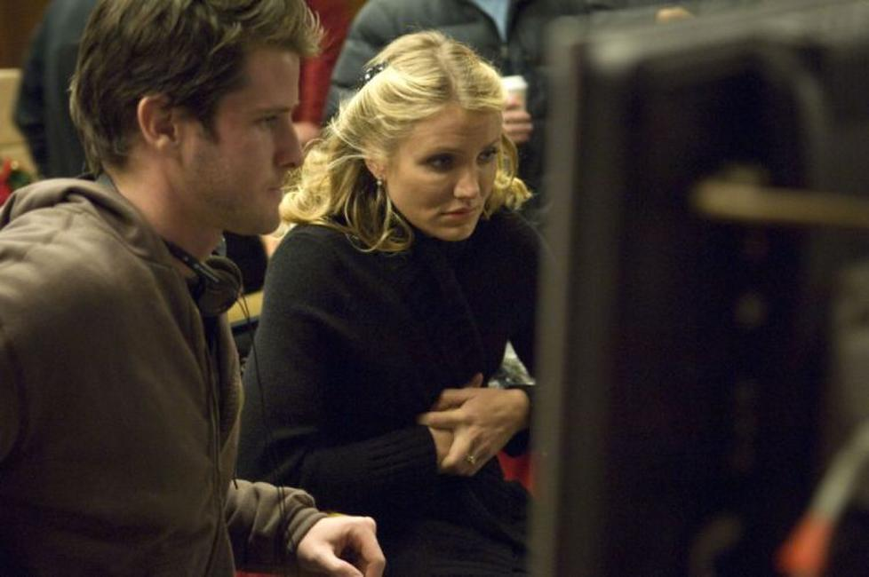 Director Richard Kelly and Cameron Diaz on the set of