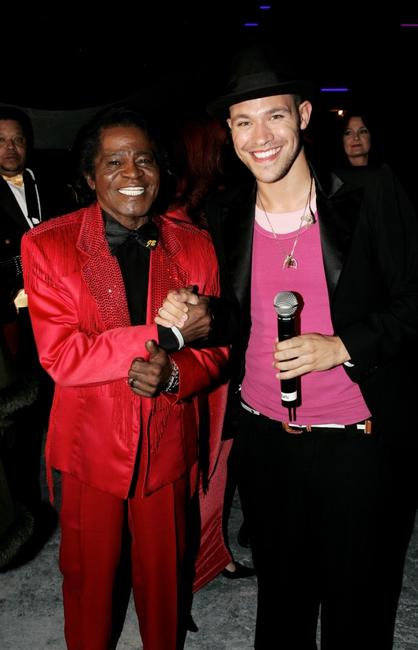 James Brown and Will Young at the Live 8 Edinburgh concert.