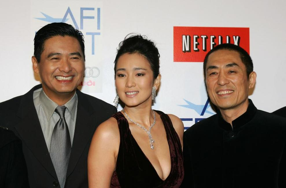 Chow Yun-Fat,Zhang Yimou and Gong Li at the Los Angeles world premier of