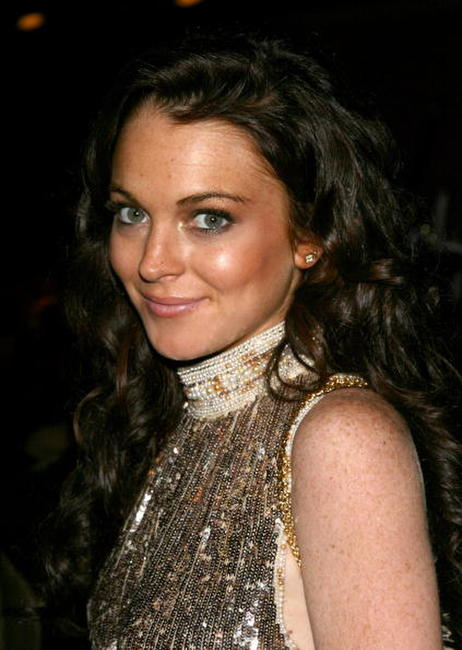 Lindsay Lohan at the cocktaill reception during the 21st Annual American Cinematheque Award Honoring George Clooney.