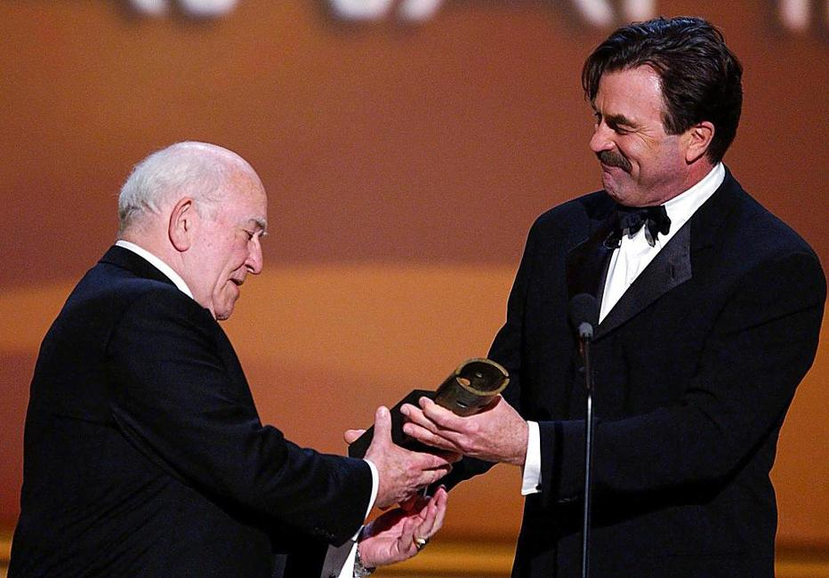Ed Asner and Tom Selleck at the 8th Annual Screen Actors Guild Awards.