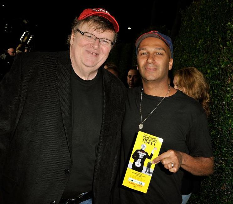 Michael Moore and Tom Morello at the Los Angeles premiere of
