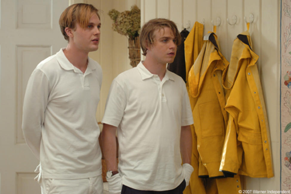 Michael Pitt as Paul and Brady Corbet as Peter in