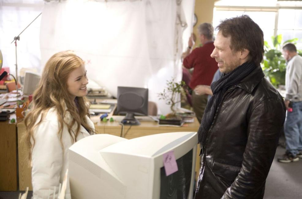 Isla Fisher and Jerry Bruckheimer on the set of