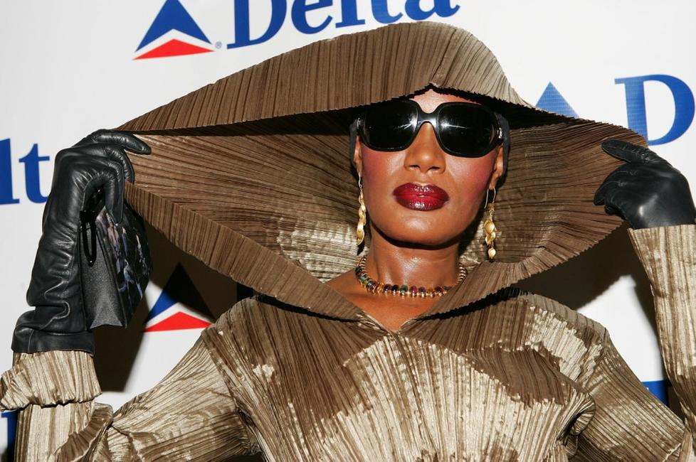 Grace Jones at the Delta Airlines newest international route between New York and London.